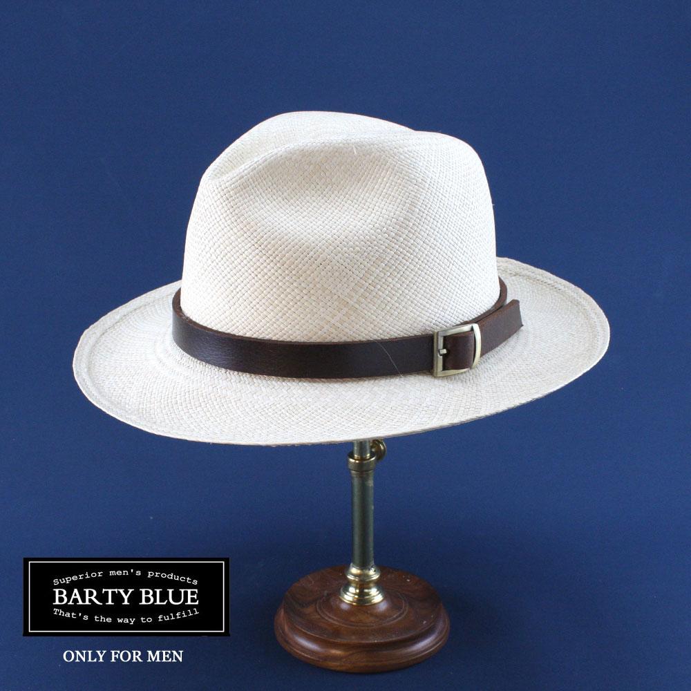 【送料無料】Barty Blue / バーティー・スコット(革色:ダークブラウン) 革バンドで更にお洒落度アップ 他には無い革バンド 名入れできます ギフトに最適 ボルサリーノタイプ パナマ帽 エクアドル 1cm毎にサイズ選びOK