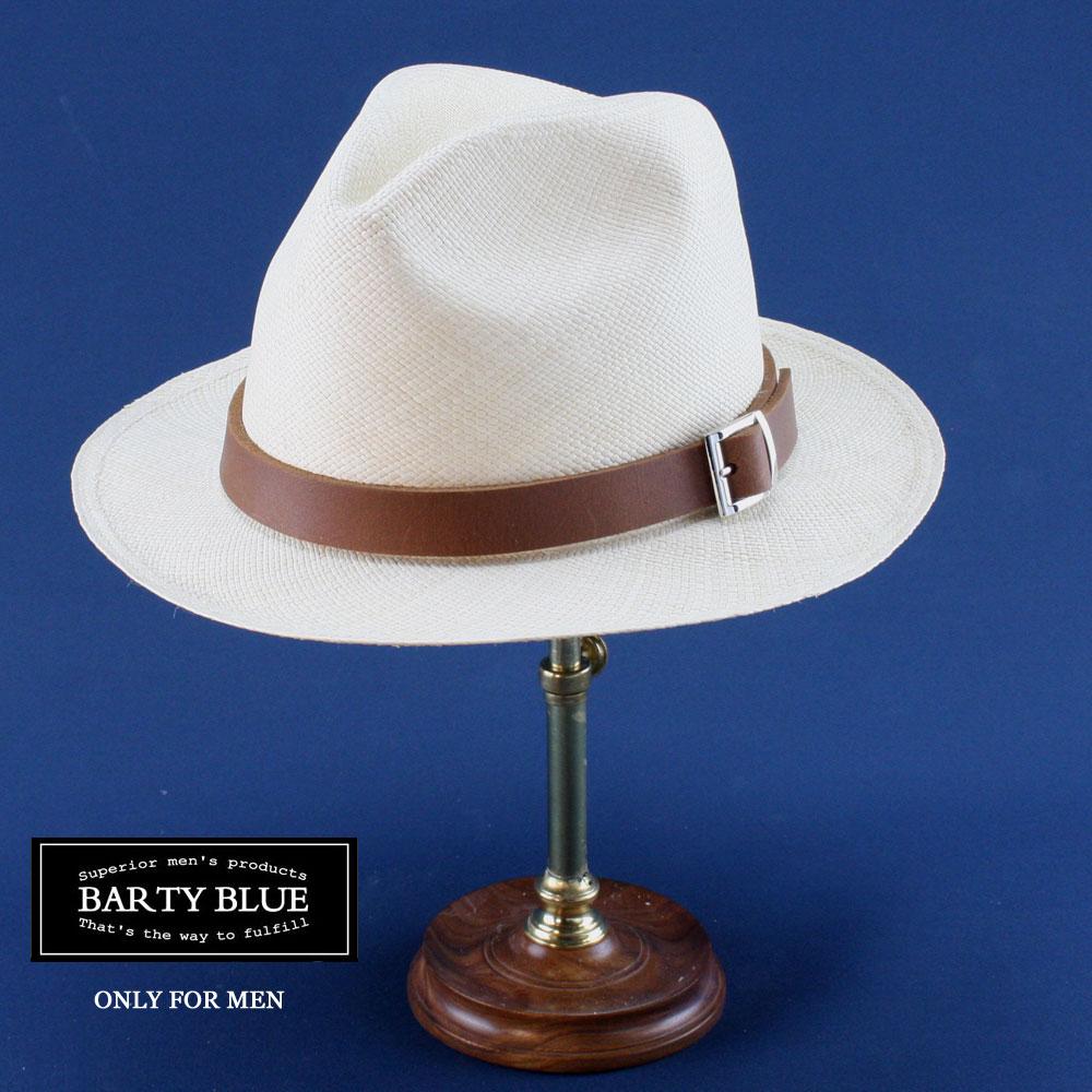 【送料無料】Barty Blue / バーティー・ストーン(革色:ブラウン) 大人の本物のパナマハット 目の細かさが違います モンティクリスティーモデル 名入れできます ギフトに最適 ボルサリーノタイプ パナマ帽メンズ エクアドル