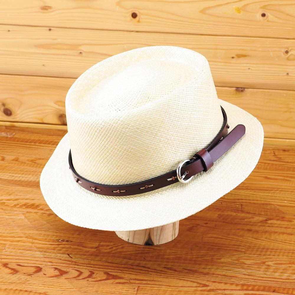 【送料無料】Barty Blue / Newバーティーウッド (本革ベルト仕様) 他には無いパナマハット オリジナリティ 名入れ可能 ギフトに最適 パナマ帽 エクアドル