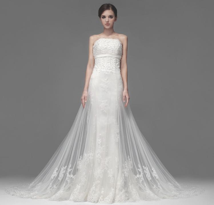 【送料無料】【即納】パールと刺繍・編み上げウェディングドレス 二次会ドレス 花嫁ドレス  ブライズメイド