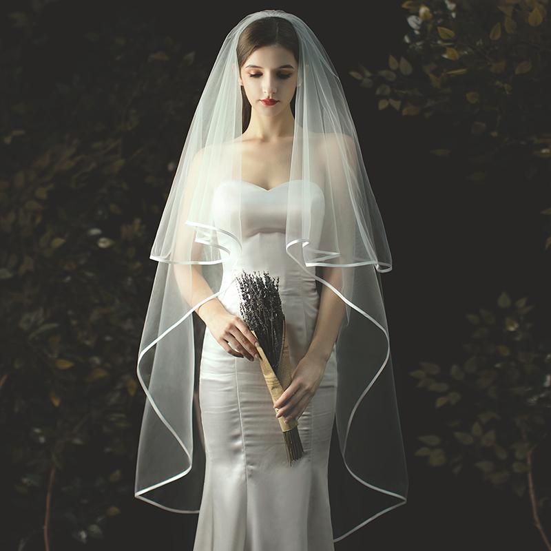 金属製コーム付 新作販売 ウエディング ウェディング 結婚式 ブライダル 2次会 ウエディングドレス 花嫁 ヴェール パイピング縁取 ベール フェイスアップベール ウエディングベール 正規品 ショート丈 2m 即納 カラー:オフホワイト