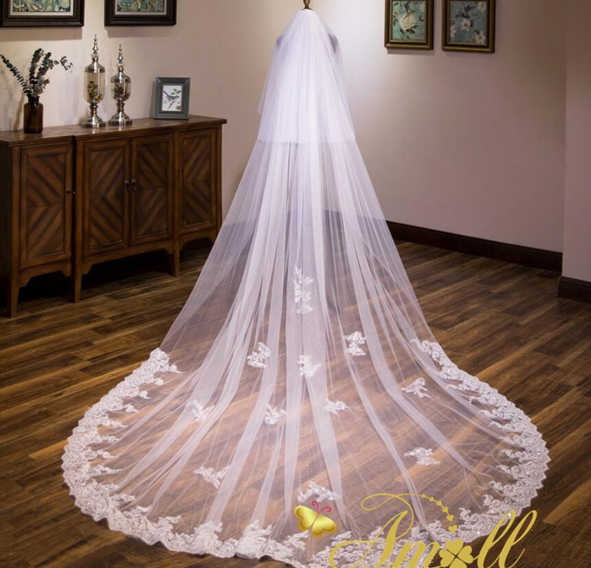 超高級一段スパンコールで刺繍入りレース縁取りロングベール ウエディング ウェディング ベール ウェディングベール ブライダル ヴェール ロングベール ウエディングドレス
