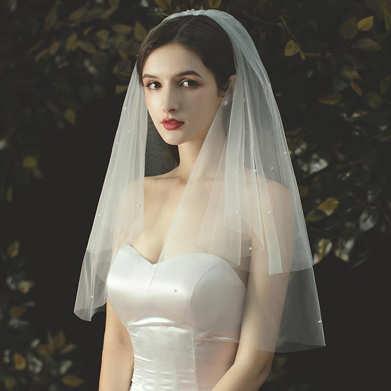 金属製コーム付 ウエディング ウェディング 結婚式 ブライダル 世界の人気ブランド 2次会 ウエディングドレス 花嫁 ベール 即納 ショート丈 ウエディングベール フェイスアップベール ヴェール パール付きショートベール カラー:オフホワイト