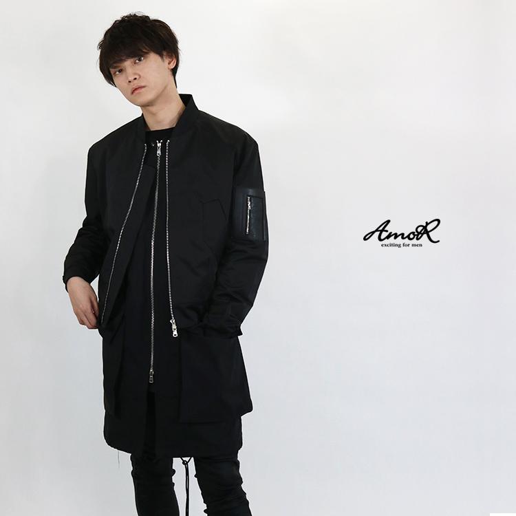 『AmoR』 ロングベスト ショートジャケット セットアップ メンズ アウター ロング丈 黒 長袖 ブラック モード系 AmoR 艶黒