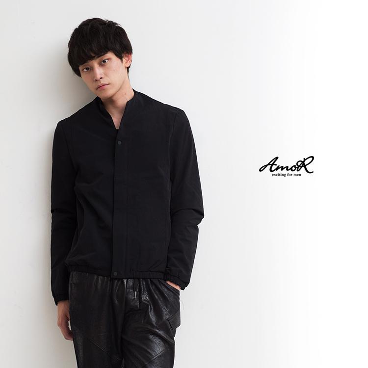 【AmoR】ノーカラー ジャケット メンズ ショート丈 無地 ノーカラージャケット アウター ブラック モード系 AmoR 艶黒