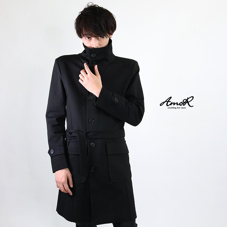 『AmoR』 トレンチコート メンズ アウター ロング丈 黒 長袖 ブラック モード系 AmoR 艶黒