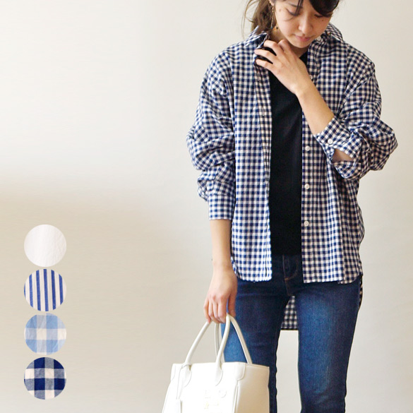 irise イリゼ  ドルマンスリーブ 長袖シャツ(ir036)(送料無料)(代引手数料無料)シンプル 無地 ギンガムチェック ストライプ ビッグシャツ オーバーサイズ 抜け感