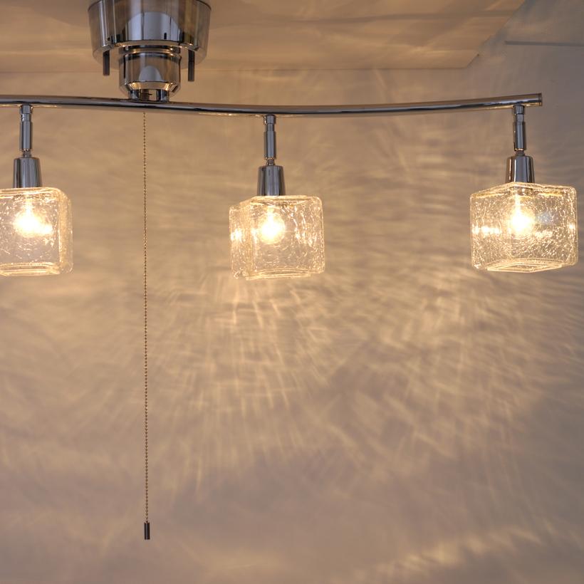 シーリングライト CRACK CUBE クリア 4灯 天井照明 シーリングライト おしゃれ インテリア キューブ Cube クラシック 4.5畳 6畳 リビング ダイニング 寝室 ガラス キシマ