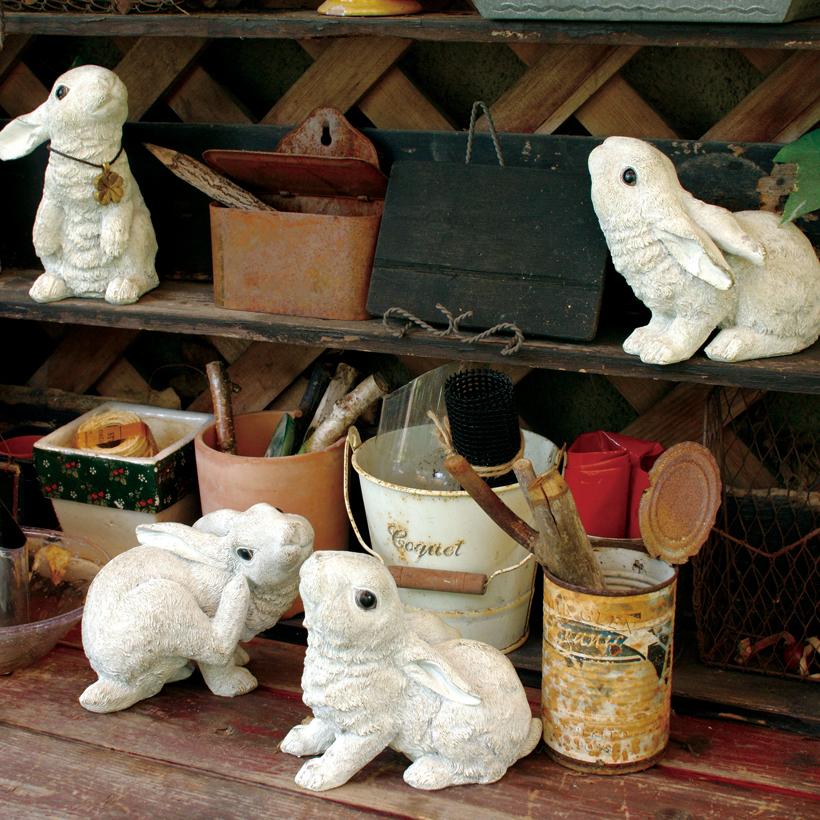 ガーデンオーナメント ラビット S ガーデン 置物 ガーデニング オーナメント 庭 園庭 うさぎ ラビット 4匹セット 可愛い 可愛い雑貨