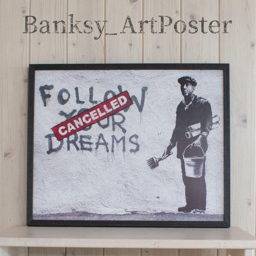 雑貨 アートポスター バンクシー Follow Your Dreams Banksy アートパネル 壁掛け アートフレーム 絵画 ウォールインテリア ストリートアート タペストリー おしゃれ シンプル モダン グラフィティ