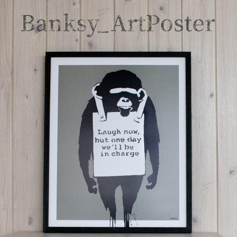 雑貨 アートポスター バンクシー Laugh Now Banksy アートパネル 壁掛け アートフレーム 絵画 ウォールインテリア ストリートアート タペストリー おしゃれ シンプル モダン グラフィティ