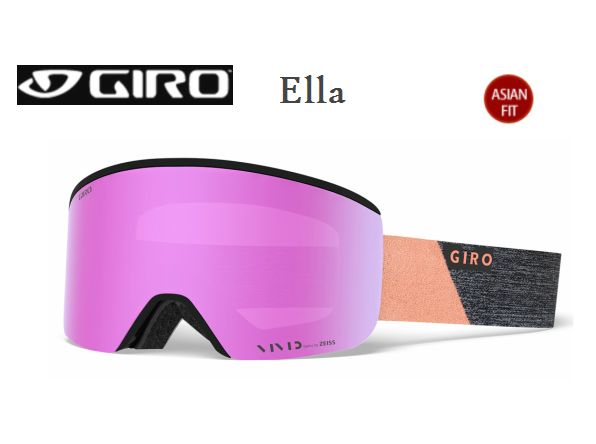 GIRO Ella ASIAN FIT GreyPeachPeak Vivid Pink 35 + Vivid Infrared 58 スペアレンズ付き ジロ スキー ゴーグル レディス