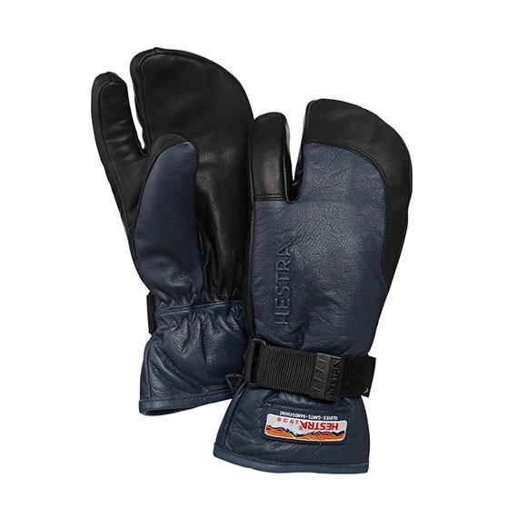 ヘストラ スキーグローブHESTRA 柔らかい革グローブ 33882 3-Finger GTX Full LEATHER あったか 3本指ミトン 280100 NAVY BLACK メンズ レディス