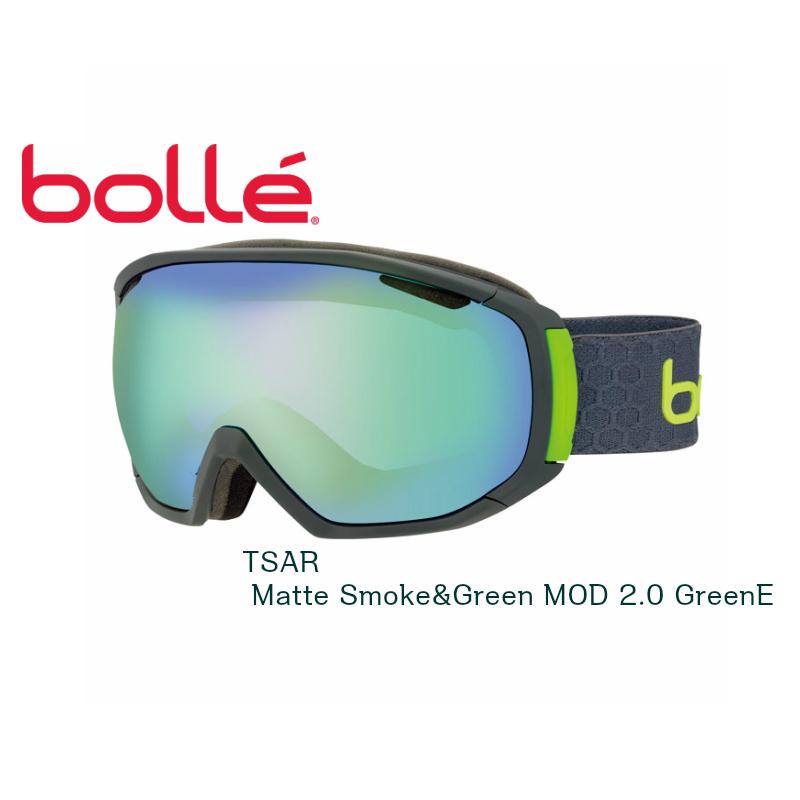 【お買物マラソン期間P5倍】BOLLE ボレー ゴーグル TSAR Matte Smoke&Green MOD 2.0 GreenE スキー スノボ