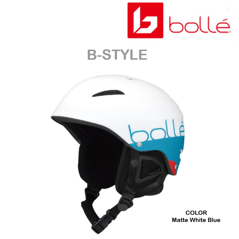 【お買物マラソン期間P5倍】2018/2019 BOLLE B-STYLE Matte White Blue ヘルメット 軽量 取り外し可能イヤーパット搭載