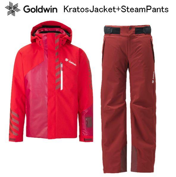 【お買物マラソン期間P5倍】2019 2020 GOLDWIN KRATOS JACKET STREAM PANTS G11925p G31925p FireRed+DR/カーディナルレッド ゴールドウイン スキーウエア 上下セット