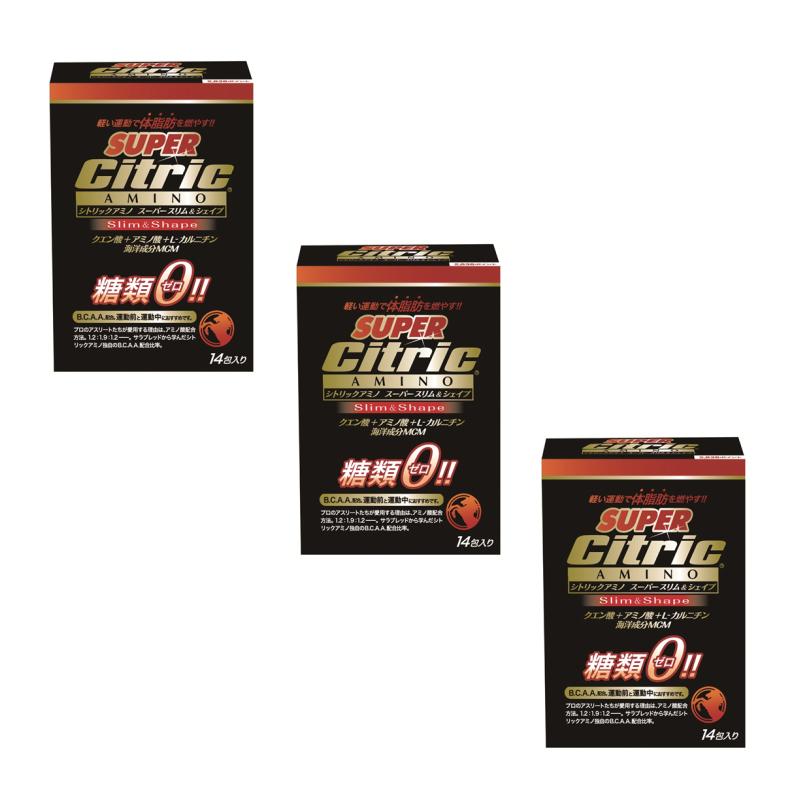 【楽天SuperSale期間P10倍最大34倍】シトリックアミノ Citric AMINO   Super Slim&Shapeスーパースリム&シェイプ6g×14包3箱 ダイエット 減量 脂肪燃焼 シェイプアップ BCAA  酸 クエン酸