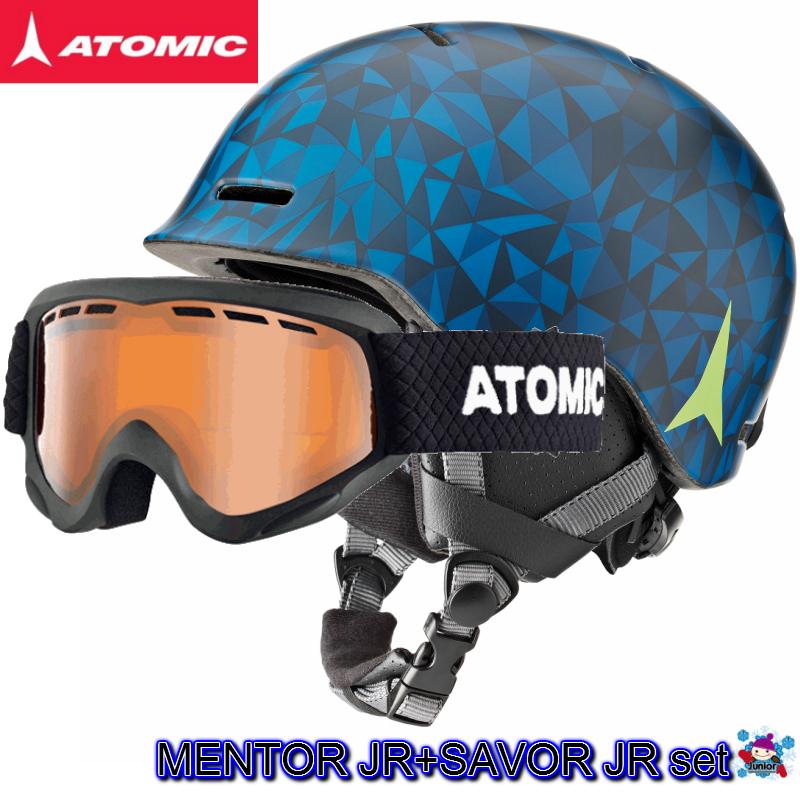 【お買物マラソン期間P5倍】2018 2019 ATOMIC MENTOR JR SAVOR JR Blue アトミック ヘルメット ゴーグル セット キッズ ジュニア an5005580 an5105376 ボーイズ
