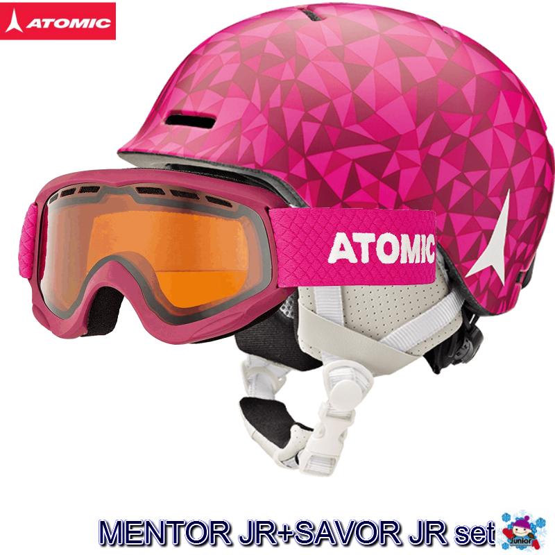 【お買物マラソン期間P5倍】2018 2019 ATOMIC MENTOR JR SAVOR JR Berry アトミック ヘルメット ゴーグル セット キッズ ジュニア an5005582 an5105614 ガールズ