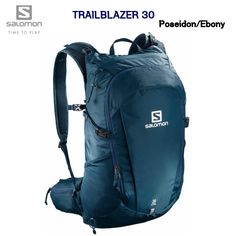 サロモン 20SS SALOMON TRAILBLAZER 30 LC1084100 Poseidon Ebony ポールホルダー付  トレイルブレイザー トレイルランニング