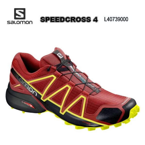 サロモン SALOMON  SPEEDCROSS4 RedDahlia Black SafetyYellow トレラン メンズ 男性用 トレーニング レース ロード トレイルランニングシューズ L40739000