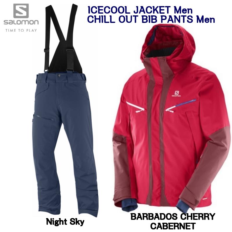 サロモン SALOMON ICECOOL JKT Mens L39717900 Barbados Cherry Cabernet+ CHILLOUT BIB PANT Mens Night Sky L40410100  スキーウェア
