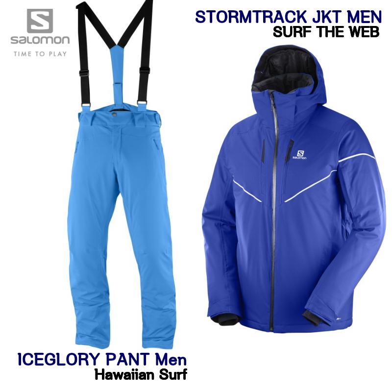サロモン 2019 SALOMON STORMRACE JKT Mens L40393000 Surf The Web + ICEGLORY PANT Men LC1003000 Hawaiian Surf Asian Length  ジャケット パンツ メンズ セット