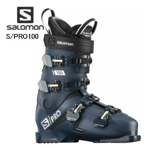 SALOMON 2020 2021 サロモン スキーブーツ 上級者 送料無料 買収 《週末限定タイムセール》 S Petrol 中級 100 Blue Black Palekaki L40873800 PRO