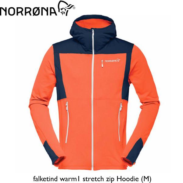 【お買物マラソン期間P5倍】NORRONA falketind warm1 stretch zip Hoodie (M) ScarletIbis メンズ ウォーム1 ストレッチ ジップ フーディ ノローナ スキー スノボ スノーボード BC バックカントリー フリース