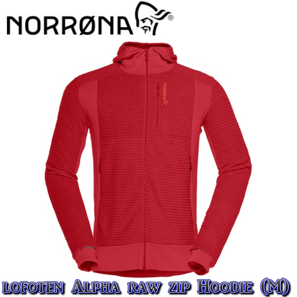 【NORRONA】ノローナlofoten Alpha raw Zip Hoodie (M) JESTER RED ロフォテン /スキー/スノボ/スノーボード/男性BC/バックカントリー/フリース