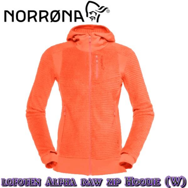 【NORRONA】ノローナlofoten Alpha raw Zip Hoodie (W) Orange Alert ロフォテン /スキー/スノボ/スノーボード/女性BC/バックカントリー/フリース
