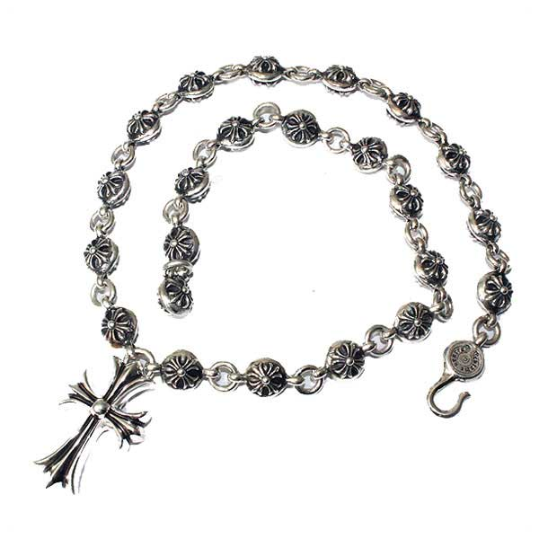 c6f4e4a06939 20 inches (approximately 50cm) of chrome hearts (Chrome Hearts) chrome  hearts necklace chain  2 cross ball necklace Small CH crosses (pendant men  silver ...