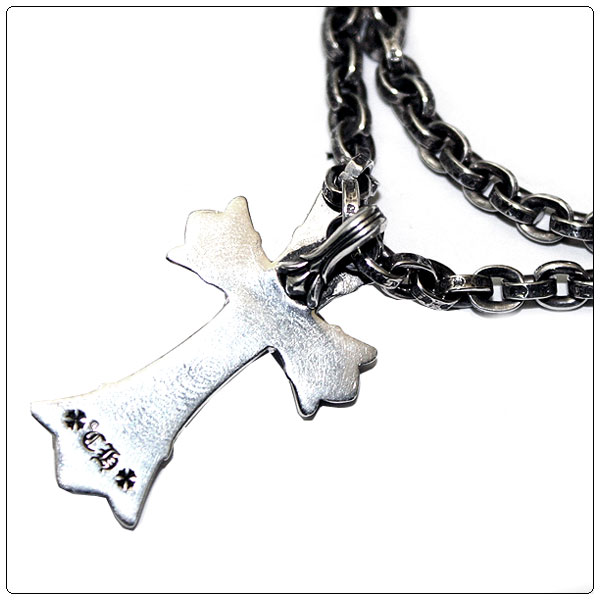 "Chrome (Chrome Hearts) necklace-paper chain 24 ""(60 cm) & double CH cross small cross pendant set"
