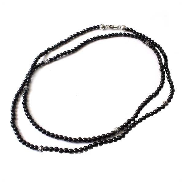クロムハーツ(Chrome Hearts)ネックレス・ビーデッド4MM・ブラック・35インチ