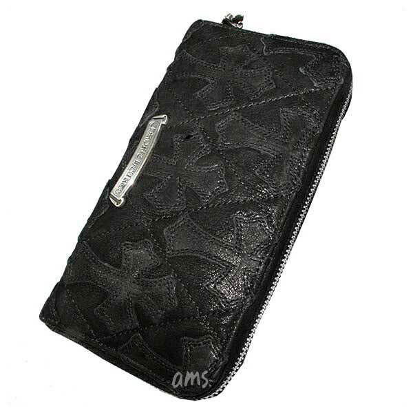 クロムハーツ 財布(Chrome Hearts)REC・F・ZIP#2・キルティングセメタリークロスブラックデストロイレザー(メンズ)(クロム・ハーツ)(長財布)