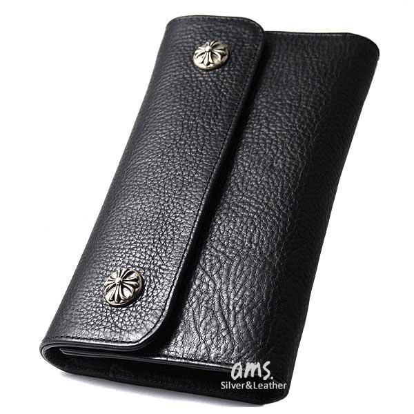 7141c0e8e02a クロムハーツ 財布(Chrome Hearts)ウェーブ・ウォレット・クロスボタン・ブラックヘビー