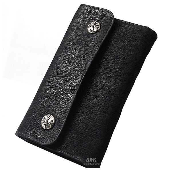 クロムハーツ 財布(Chrome Hearts)ウェーブ・ウォレット・クロスボタン・ブラックデストロイレザー (ブランド)(長財布)(バッグ)(小物)