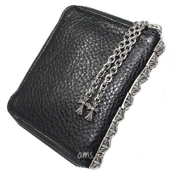 クロムハーツ 財布(Chrome Hearts)3サイドジップブラック・ヘビーレザーウォレット(メンズ)(クロム・ハーツ)(長財布)