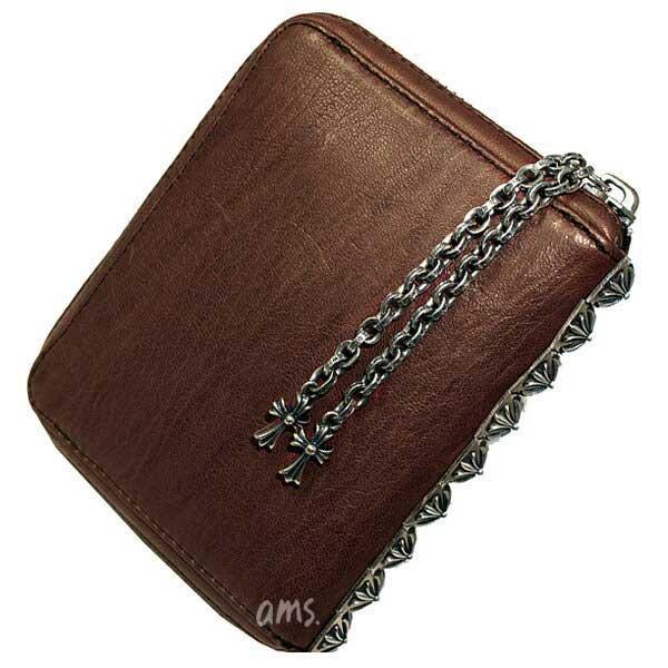 クロムハーツ 財布(Chrome Hearts)3サイドジップ・ブラウン・ミディアムレザーウォレット(メンズ)(クロム・ハーツ)(長財布)