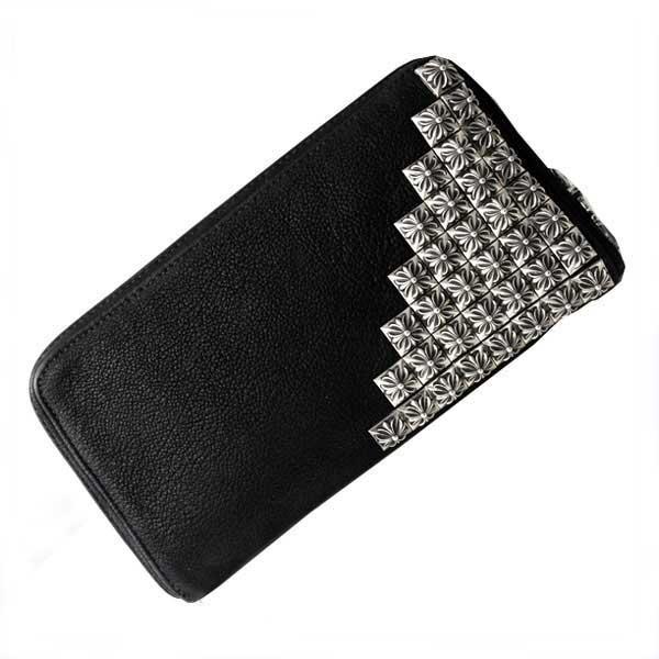 超安い品質 クロムハーツ 財布(Chrome Hearts)REC・F・ZIP#2・ピラミッドコーナー・ボックスクロスブラック・デストロイ・レザーウォレット(メンズ)(クロム・ハーツ)(長財布), AUTO WORLD 1a4b5687