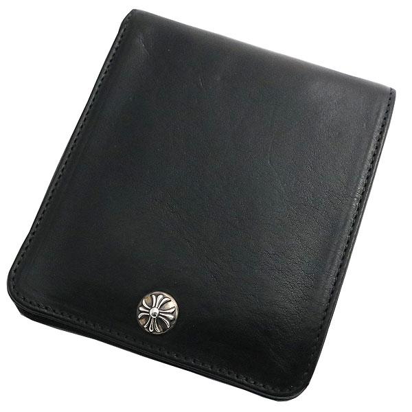クロムハーツ 財布(Chrome Hearts)ワンスナップ・クロスボタンブラック・ヘビーレザーウォレット(メンズ)(クロム・ハーツ)