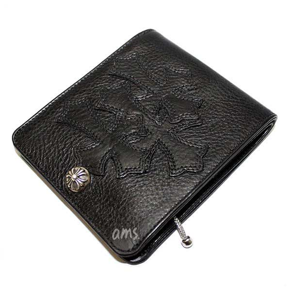 クロムハーツ 財布(Chrome Hearts)ワンスナップ・クロスボタンブラック・ヘビーレザーウォレット・セメタリーパッチーズ(メンズ)(クロム・ハーツ)(長財布)