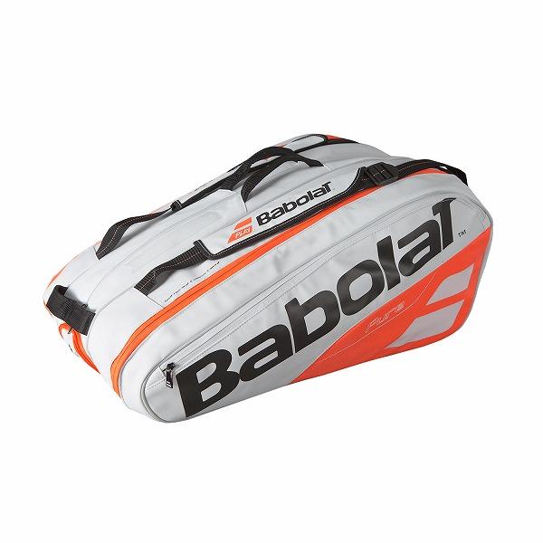 【12本収納】バボラ 2018 ピュアストライク ラケットバッグ ホワイト×フルオオレンジ 751170-149【2018年2月登録】次回使えるクーポンプレゼント