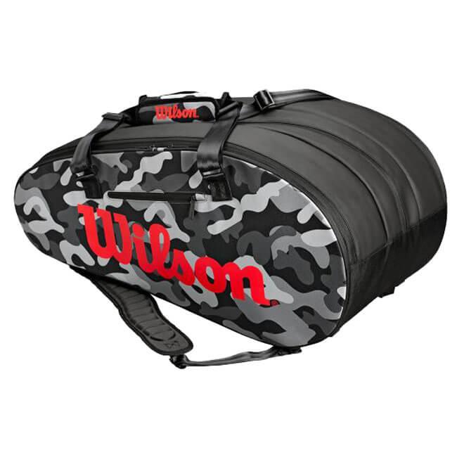 【15本収納】ウィルソン(Wilson) 2018 SUPER TOUR CAMO GRAY 15PK ラケットバッグ グレー WRZ831814