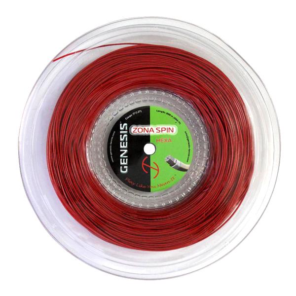 ジェネシス(GENESIS) ゾーナスピン ヘキサ(Zona Spin Hexa) レッド(1.27mm/1.32mm)200Mロール 硬式テニス ナイロンマルチフィラメントガット次回使えるクーポンプレゼント