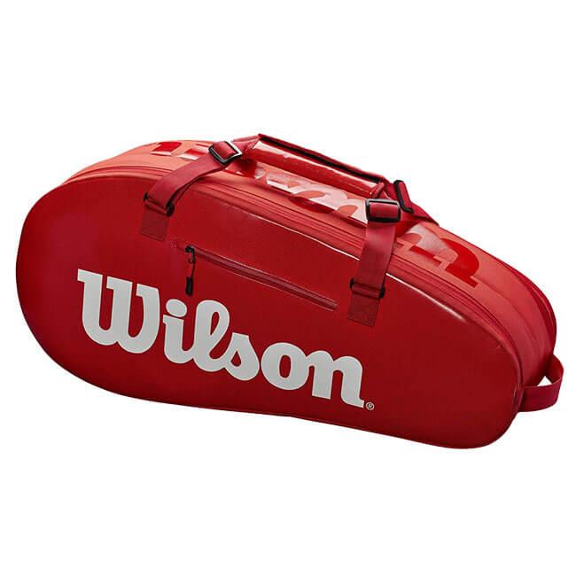 【6本収納】ウィルソン(Wilson) SMALL SUPER TOUR 2 COMPARTMENT TENNIS BAG 6PK ラケットバッグ レッド WRZ840803