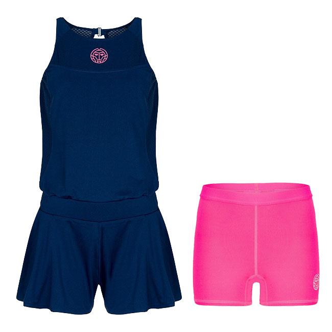 28日~1日日替わりキャンペーン】BIDI BADU(ビディバドゥ) 2019 SP ジュニア(ガールズ) レイ(Rae) テック ジャンプスーツ (2in1) ダークブルー×ピンク (19y1mテニス)テニスウェア[次回使えるクーポンプレゼント]