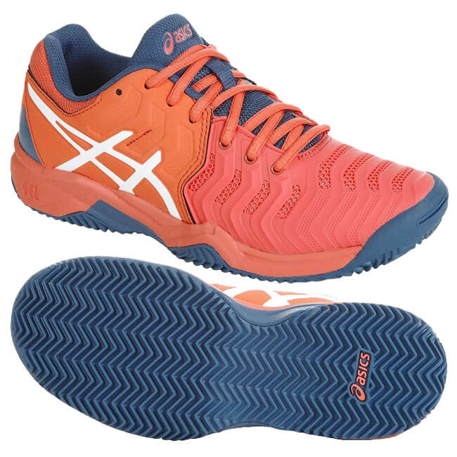 f0224ef834 ASICS (Asics) youth gel resolution 7 GS (for the clay court) papaya X white  tennis shoes C800Y-701(19y2m) [the coupon present which is usable on the ...