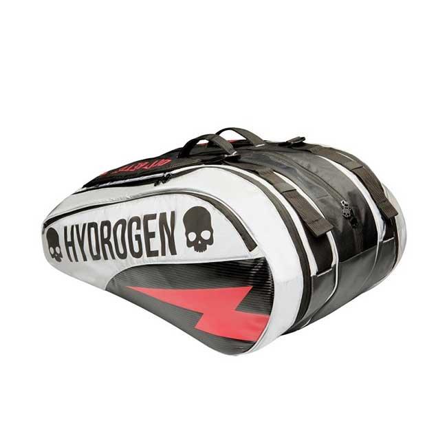[12本収納]ハイドロゲン(HYDROGEN) 2019 ラケットバッグ ブラック×シルバー T03003-816(19y3m)次回使えるクーポンプレゼント