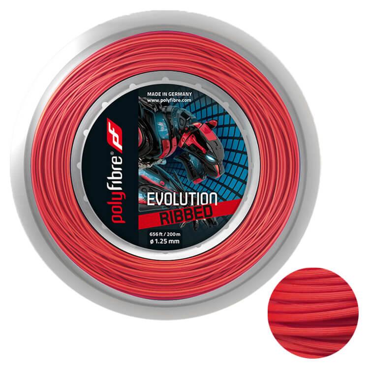 ポリファイバー(Polyfibre) エボリューション リブド (EVOLUTION RIBBED) 1.25mm 200Mロール レッド 硬式テニス ポリエステルガット (19y9m)[次回使えるクーポンプレゼント]